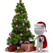 3d small - Santa and a Christmas tree — Stock Photo #4408224