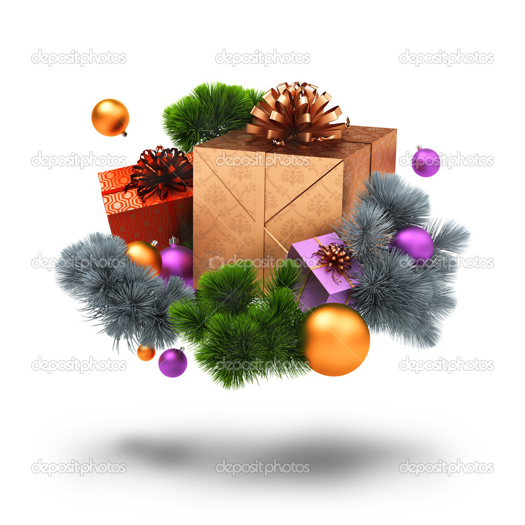 Christmas decoration, gifts and pine branches. 3d image. Isolated white background. — Stock Photo #4408219