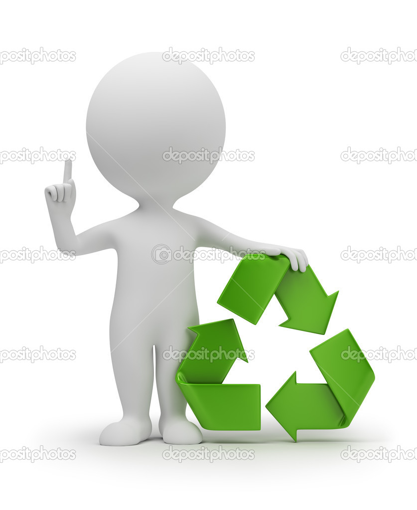 3d small with a recycling symbol. 3d image. Isolated white background. — Stock Photo #4408221