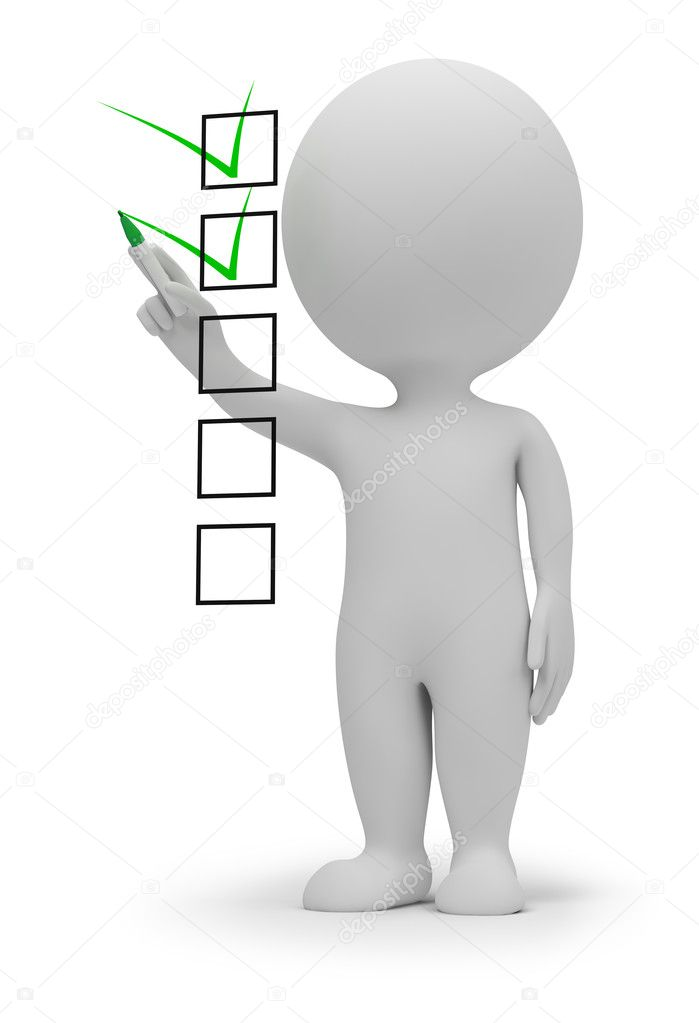 3d small marking ticks in the checklist. 3d image. Isolated white background. — Stock Photo #4848546