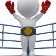 Stock Photo: 3d small - boxer the champion