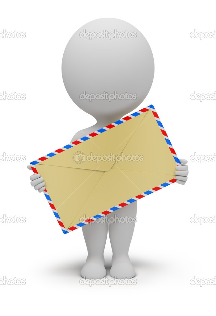 3d small with an envelope in hands. 3d image. Isolated white background. — Stock Photo #4907747