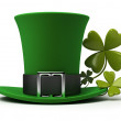 St Patricks hat and clover — Stock Photo