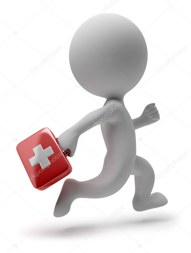 3d small person - doctor with the first-aid set running on a call. 3d image. Isolated white background. — Stock Photo #5288276