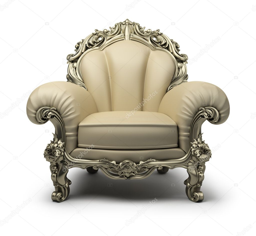Luxury armchair of beige colour, with a silver decor. 3d image. Isolated white background.  Stock Photo #5288294