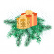 Christmas banner with pine branches — Stock Vector