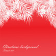 Red Christmas background with fur-tree branches — Stock Vector