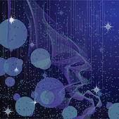 Abstract background with stars and waves — Vector de stock