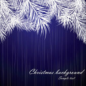 Blue Christmas background with fur-tree branches — Vector de stock