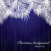 Fondo azul navidad con ramas de árbol de la piel — Vector de stock