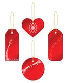 Röda etiketter med en vinter tema — Stockvektor