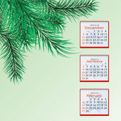 Winter calendar for a green background with pine branches — Stock Vector