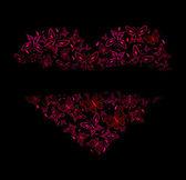 赤い蝶から美しい心 — ストックベクタ