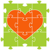 The orange heart collected from puzzles — Stock Vector