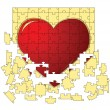 The red heart collected from puzzles - Stock Vector