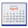 The vector image of a calendar for April, 2011. eps10 — Stock Vector