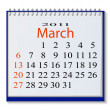 The vector image of a calendar for March, 2011. eps10 — Stock Vector