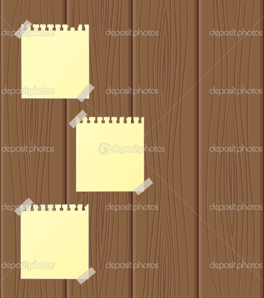 Empty sheets of paper attached to wooden structure. Vector illustration  Stock Vector #5023782
