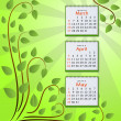 Calendar for 2011 - spring months. eps10 - Vettoriali Stock 