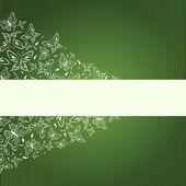Abstrata verde bandeira com borboletas — Vetorial Stock