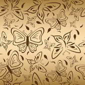 Seamless gold backgruond with butterflies — Stock Vector