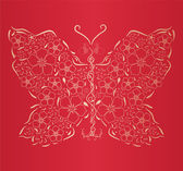 Figured gold butterfly on red background — Stock Vector