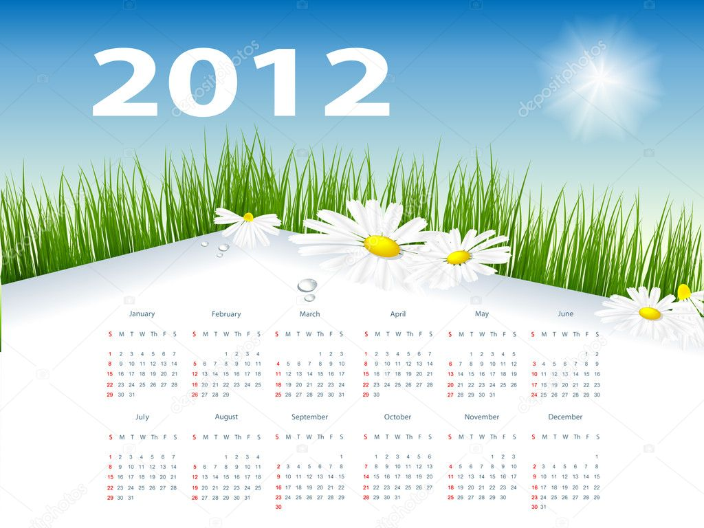 Floral vector template with 2012 year  calendar — Stock Vector #5371209