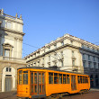 Stock Photo: Old orange tram in Milan, italy