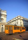 Old orange tram in Milan, italy — Stock Photo