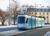 Tram on the street of Wroclaw — Stok fotoğraf