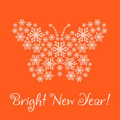 Congratulation happy New Year, (card).The New Year's butterfly f — Foto Stock