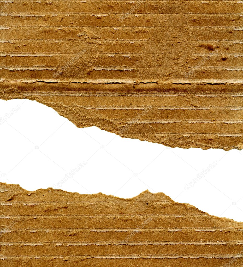 Textured striped cardboard with torn edges isolated over white — Stock Photo #4856595