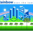 Rainbow over the town — Stock Vector