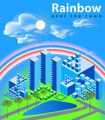 Rainbow over the town — Stock Vector