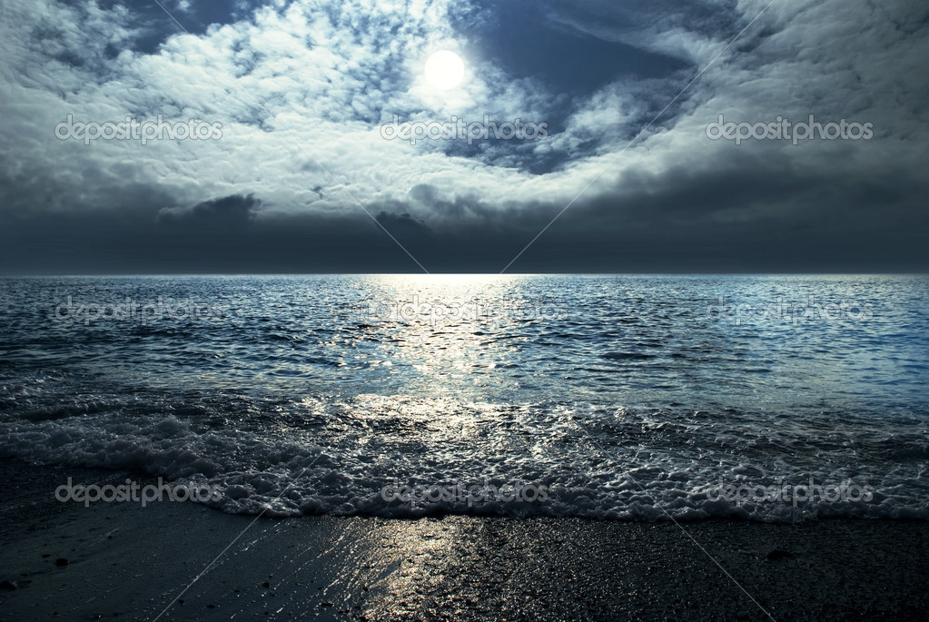 moonlight night sky. Moonlit night and clouds on night sky in the sea