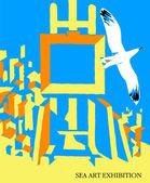 Poster sea art — Stock Vector