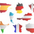 Stock Photo: Maps and flags