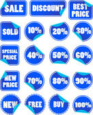 Set of blue discount price labels — Vettoriale Stock