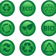 Green environment and recycle icons - Stok Vektör