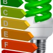 Green bulb and energy classification — Stock Vector