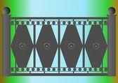Un morceau de clôture sur le pont. — Vecteur