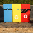Containers for recycling metal, plastic and glass — ストック写真