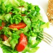 Healthy vegetarian Salad and bread on the white plate — Zdjęcie stockowe