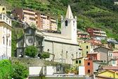 Italy. Cinque Terre. Church in Riomaggiore village — Stock Photo