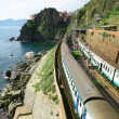 Italy. Cinque Terre. Train at station Manarola - Stock Photo