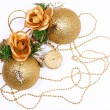Christmas card with golden balls and candle — Stock Photo