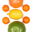 Citrus fruits isolated on white — Stock Photo