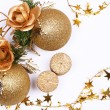 Christmas card with golden balls and candles — Stock Photo