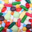 Various multicolor pills and capsules — Stock Photo