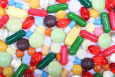 Various multicolor pills and capsules — Foto Stock
